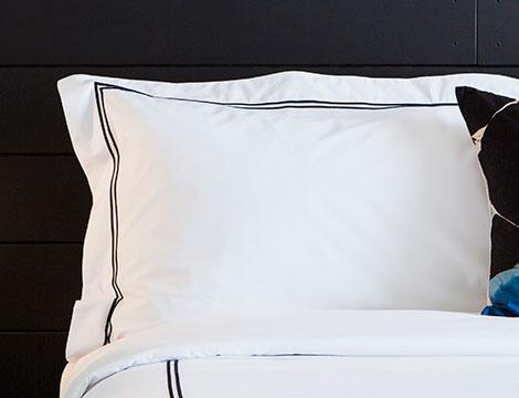 black embroidered pillow shams kimpton style
