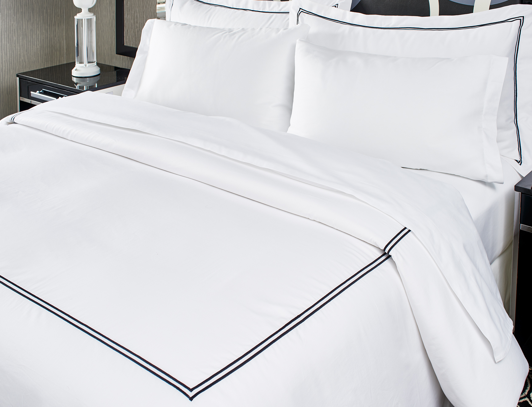 Black Embroidered Duvet Cover Kimpton Style