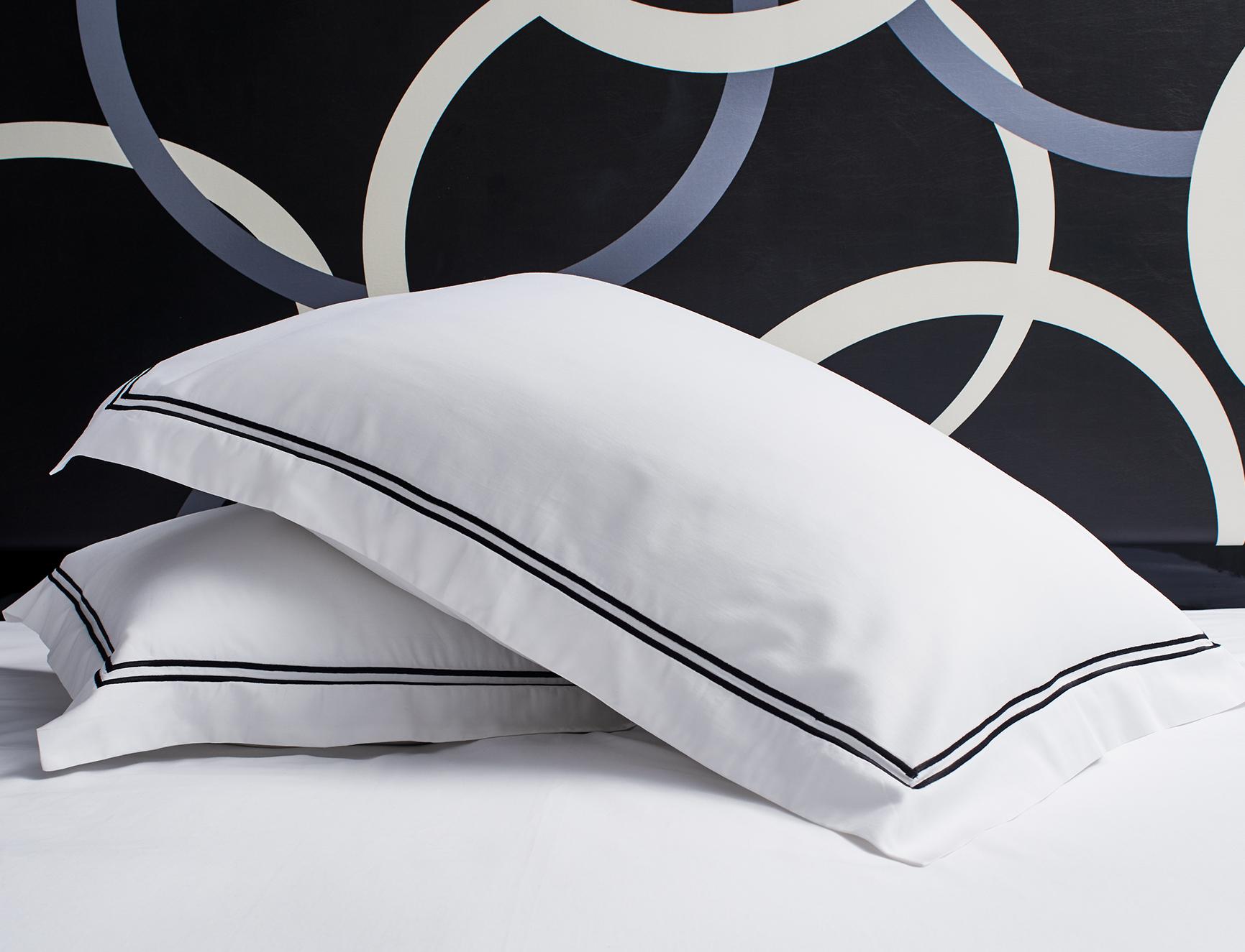 black embroidered pillow shams  kimpton style - black embroidered pillow shams
